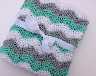 Baby blanket crochet mint green light gray white ripple chevron blanket