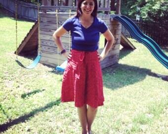 Vintage 70s Red Floral Skirt