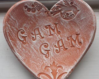 Handmade Pottery Mother's Day Rustic Heart Dish for GamGam