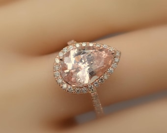 Certified untreated 4.75 carts pear shape Peach Sapphire rose rose gold engagement ring| Free shipping | SKU 2351 Catalin