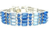 Brilliant Blue Rhinestone Bracelet. Baguettes & Round Chatons. Two Tone, Small Wrist. Vintage 1950s Old Hollywood Style Fashion Jewelry.