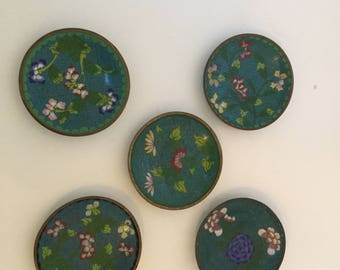 Chinese Enameled Cloisonne Plates Set of Five