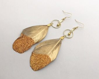 Gold Glitter Feather Earrings, Gold Feather Hoops with Painted Plumes / Ready To Ship