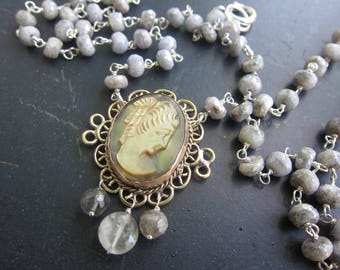 Authentic Vintage Shell Cameo with Labradorite