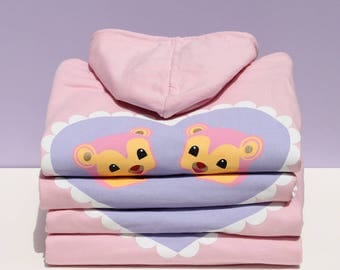 Over-sized pink bear hoodie. Merrimaking X Showpony, summer 17.