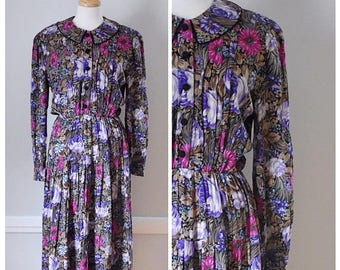 ON SALE Vintage Gauze Shirtwaist Maxi Dress From The 80s / 90s