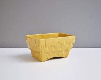 Vintage Mustard Yellow Chevron Planter