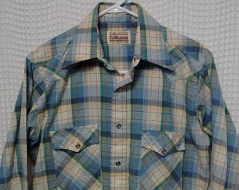 vintage PenWesterner plaid Shirt Western button snap Long sleeve Medium 70s 80s Northwest Portland Oregon cowboy outdoor lumberjack hipster