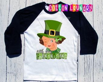 little miss Shenanigans St. Patricks Day St Pattys Day Girls clothing Girls tee shirt Raglan baseball style tee shirt....St. Paddy's......