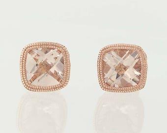 Morganite Stud Earrings - 14k Rose Gold Milgrain Pierced 1.71ctw N9676