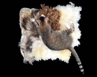 Cruelty Free, Jacob, Shetland, Texel, Cat Bed, Pet Bed, Dog Mat, Wool Fleece, Natural Bed, Humane Sheepskin, Hand Felted, Cat Lover Gift