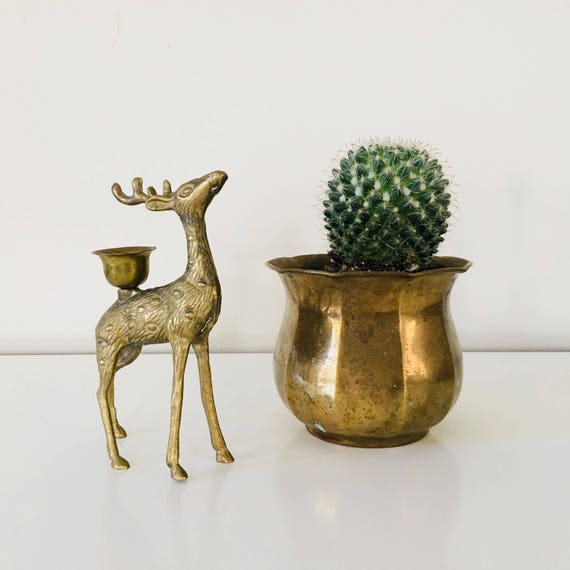 Brass Deer Figurine Vintage Brass Woodland Animal Mid Century Modern Brass Candlestick Holder Deer Decor Antler Collectible Boho Decor