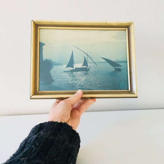 Vintage Sail Boat Framed Photograph Ocean Blue Seascape Sail Boats Beach Decor