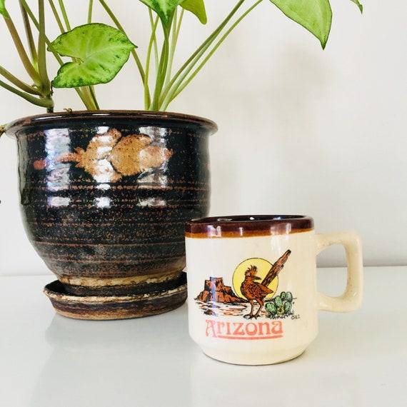 Vintage Ceramic Arizona Coffee Mug Roadrunner Cactus Cacti Souvenir Mug Southwestern Desert Coffee Cup