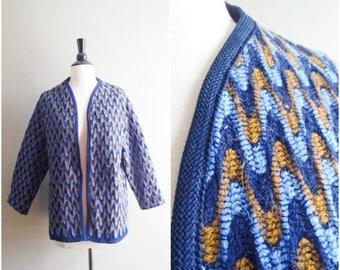 SALE Vintage retro pattern cardigan / navy, blue and gold wave knit jacket