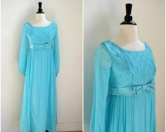 Summer Sale Vintage 1960's blue prom gown / long sheer sleeved empire waist dress / beaded bodice formal gown with bow belt