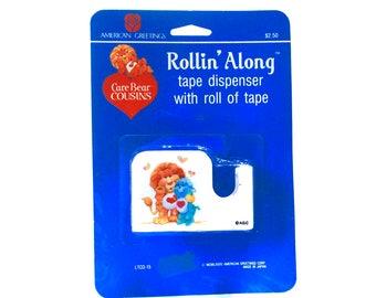 Care Bear Cousins Rollin Along Tape Dispenser & Roll of Tape Old Stock