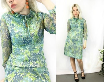 Vintage 1960s Blue Green Floral Ruffle Dress size Small