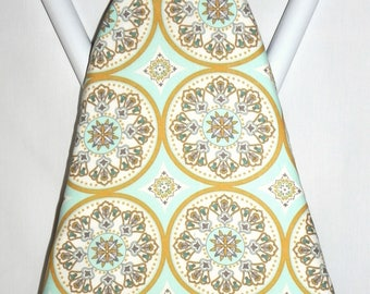 Ironing Board Cover - Floral medallions in pale aqua blue and honey brown  - Laundry and Housewares