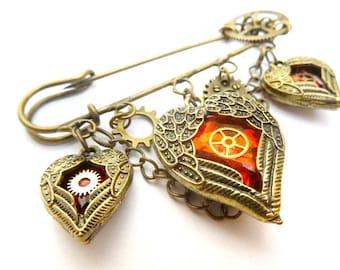 Steampunk mechanical gears 1 winged hearts brooch