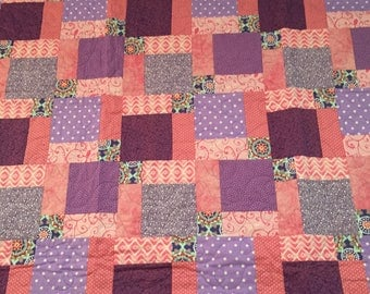 Girl's Pink and Lavender Scrap Quilt