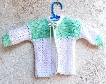 Handmade Baby Sweater, Vintage Crocheted Infant Cardigan in Mint Green and White