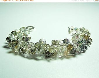 30% OFF SALE thru Mon Fall Colors Crystal Cluster Bracelet, ONLY One, Christmas Gift, Mom Sister Bridesmaid Jewelry Gift, Sparkle