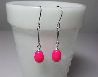 40% OFF SALE thru Tues Swarovski Hot Pink Pearl Earrings,  Valentines Mothers Day Gifts, Mom Sister Jewelry, Dangle Drop Earrings, Modern Co
