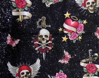 ON SALE 85% OFF Skull Fabric - Pink Fabric - Punk Rock - Skull and Crossbones - Glitter - Gothic - Skulls - Butterfly - Cotton Fabric - Girl