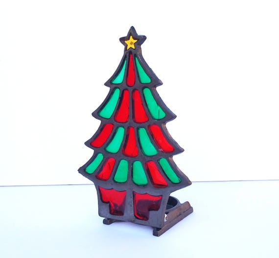 Vintage 1970's Stained Glass Christmas Tree Votive Holder
