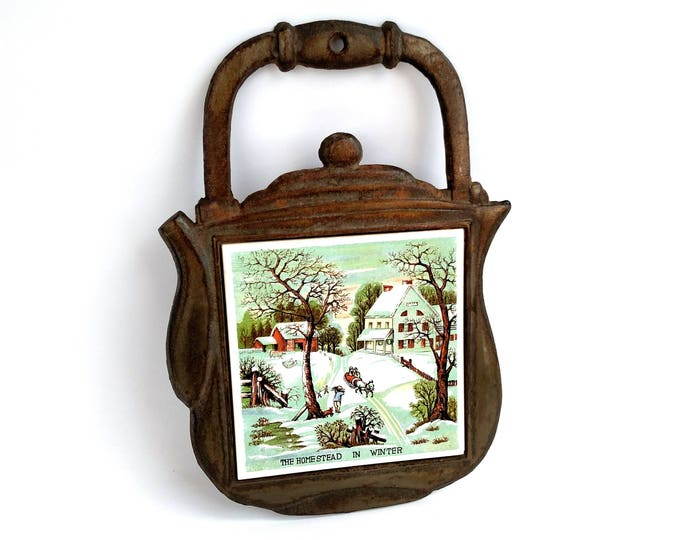 Vintage Currier and Ives The Homestead in Winter Ceramic Tile in Wrought Iron Tea Pot Shaped Trivet