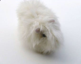 Guinea Pig Plush Creme Off White Stuffed Animal Plush Toy  White Guinea Pig Faux fur stuffed toy