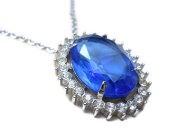 Vintage Blue Sapphire  Necklace / Brooch