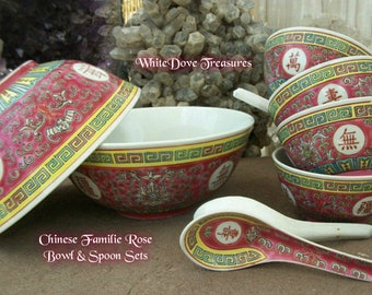 Chinese Red Bowls & Spoons ~ Familie Rose Vintage ~ Shou Long Life
