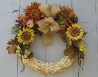 Sunny Fall Straw Wreath Fall Foliage Bright Oranges Golds Greens accented with Apples Acorns Feathers 20 inch