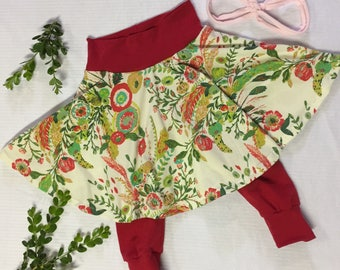 Floral Christmas Red Skirted Leggings Custom Size Infant Girl LIMITED