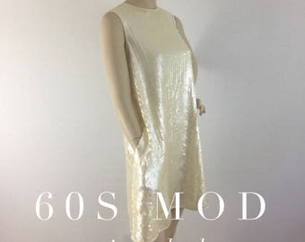 Vintage 60s MOD sequin cocktail dress - 1960s Twiggy ivory mini tent party dress - medium