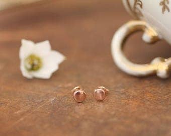 Berry Rose Gold Button Earrings