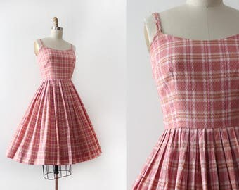 vintage 1950s sun dress // 50s cotton pink dress