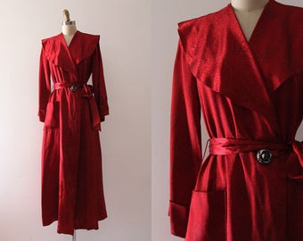 vintage 1940s robe // 40s red dressing gown