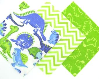 "36 Flannel Fabric Pre Cut 6"" x 6"" Squares in a Fun Dinosaur and Chevron Print Flannel Rag Quilt Kit"