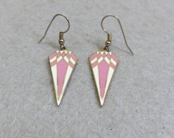 Vintage Pink and White Cloisonne' Enamel Pierced Earrings, 1980s Cloisonne' Earrings