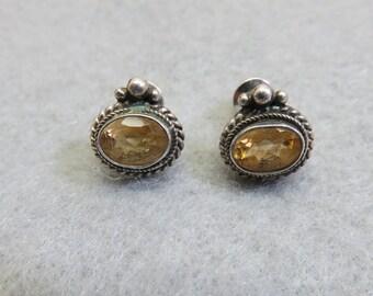 Elegant Vintage Citrine Sterling Pierced Earrings, Victorian Style Real Citrine Earrings