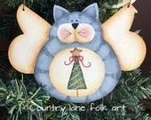 kitty cat ornament, gray cat ornament, Christmas ornament, angel ornament, cat lover gift, wooden Christmas ornament, hand painted, xmas
