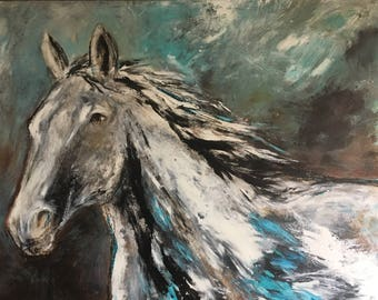 Abstract contemporary horse  painting, equestrian art original modern style painting