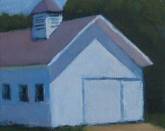 White Barn Original Oil Painting Modern Impressionist Jennifer Boswell