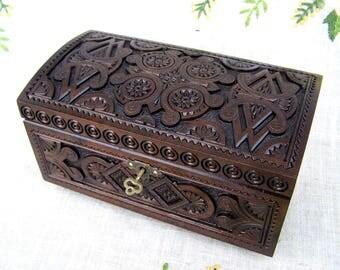 lock box jewelry box wooden box lock ring box wooden jewelry box jewelry box with key - Wood Jewelry Box
