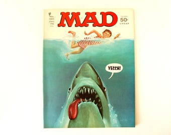 "Vintage MAD Magazine ""JAWS"" Shark Parody Issue #180 (c.Jan. 1976) - Collectible Shark Comic, Shark Week Decor, Shark Ephemera and Oddity"
