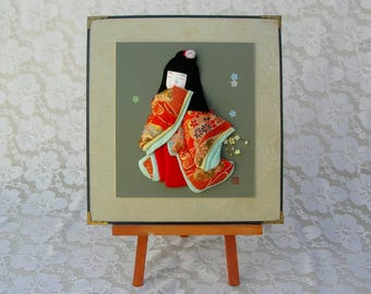 "Cute Japanese Girl 3-dimensional ""oshi-e"" picture for Girls' Day, hand-crafted, real kimono fabric, signed collectible picture"