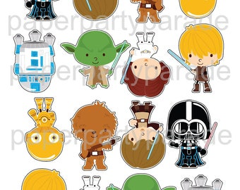 Star Wars DIY Printable Cupcake Toppers - Birthday Party - Baby Shower - Return of the Jedi - Luke Skywalker - R2D2 - Print at Home